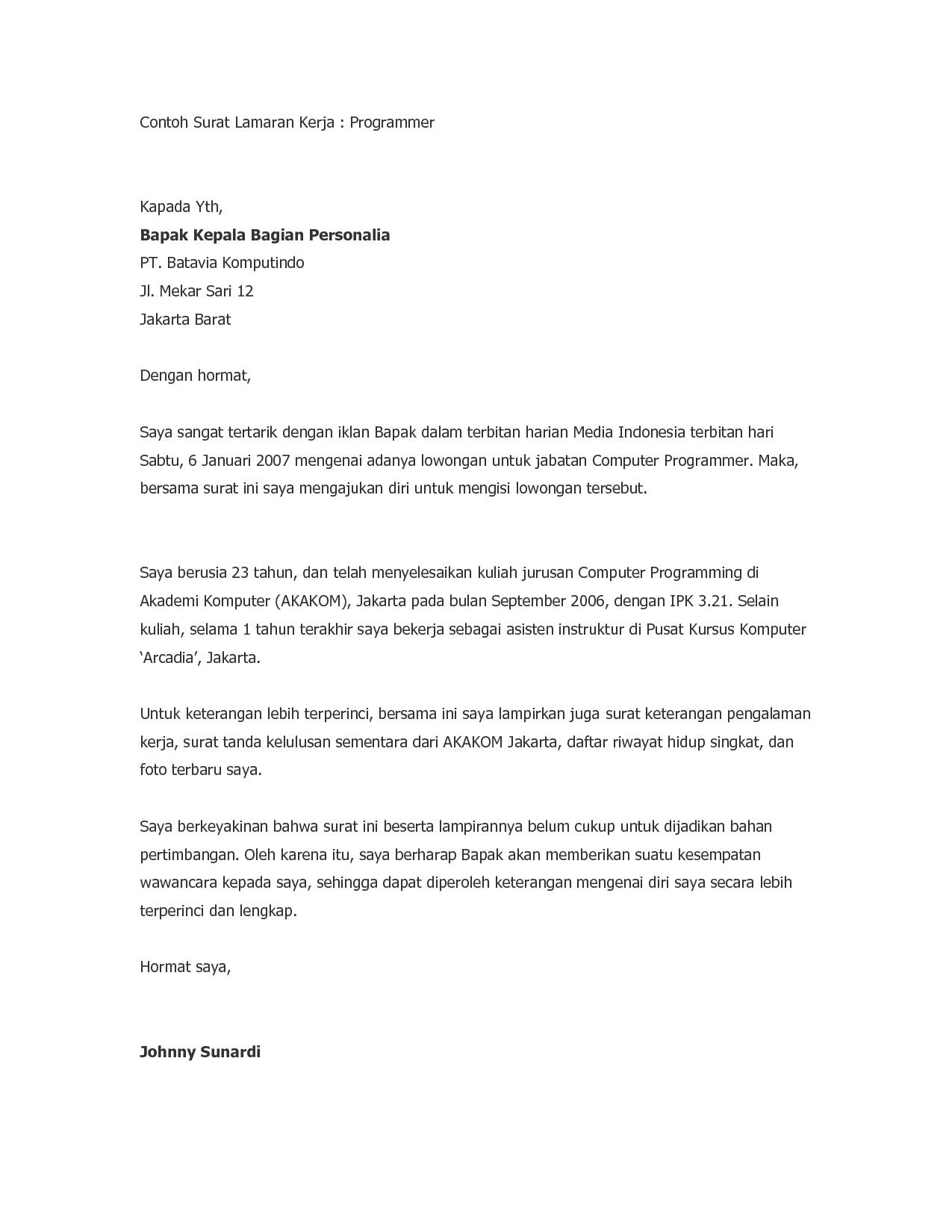 Contoh Surat Lamaran Kerja Dengan Bahasa Indonesia Yang Baik